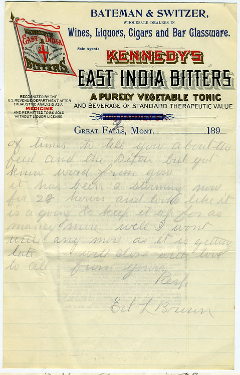 LETTERHEAD – KENNEDY'S EAST INDIA BITTERS-  GREAT FALLS MONTANA - 189_