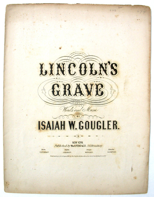 LINCOLN – SHEET MUSIC LINCOLN'S GRAVE – 1865