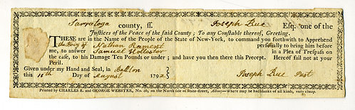 1792 SARATOGA COUNTY- NY STATE COURT ARREST WARRANT