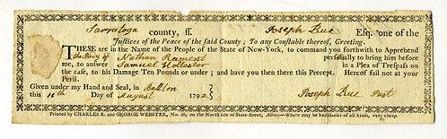 1792 SARATOGA COUNTY- NY STATE COURT ARREST WARRANT