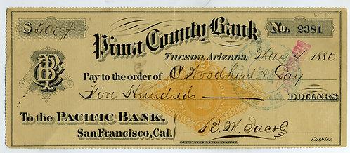 BANK CHECK — PIMA COUNTY ARIZONA TERRITORY -BARRON JACOBS SIGNED - 1880