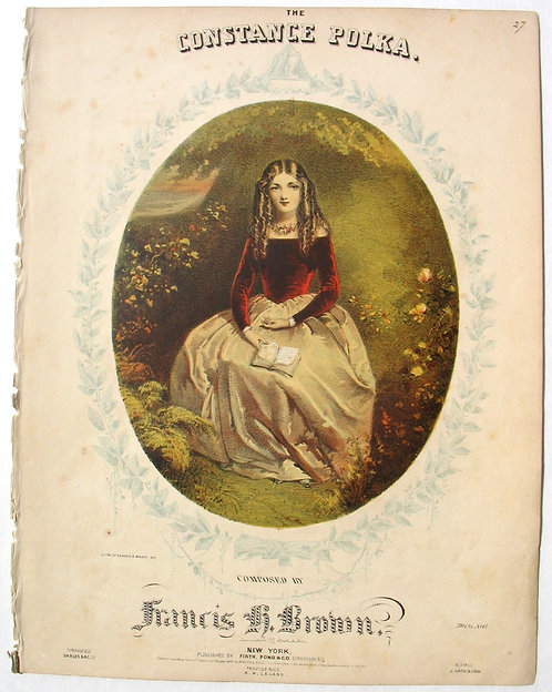 SHEET MUSIC – THE CONSTANCE POLKA, 1852. BEAUTIFUL COLOR LITHOGRAPH COVER.