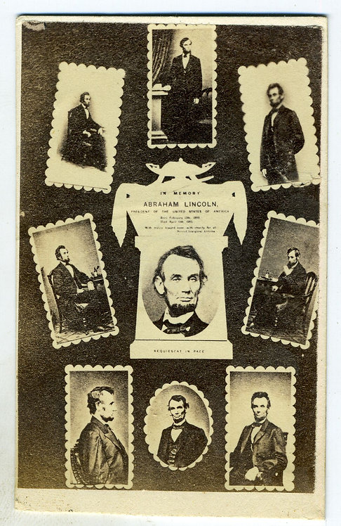 CDV - ABRAHAM LINCOLN – COLLAGE OF CDVS – MOURNING
