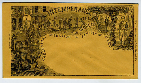 POSTAL HISTORY – TEMPERANCE  COVER - ILLUSTRATED PROPANDA – MAINE LAW 1850s