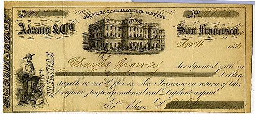 ADAMS & CO. – GOLD RUSH ERA – CERTIFICATE OF DEPOSIT