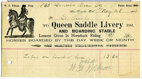 BILLHEAD – LOS ANGELES, CALIFORNIA – QUEEN SADDLE LIVERY, 1908 - ILLUSTRATED