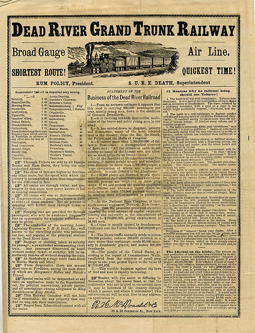 TEMPERANCE - FLYER MOCK TRAIN SCHEDULE FOR DEAD RIVER RR.