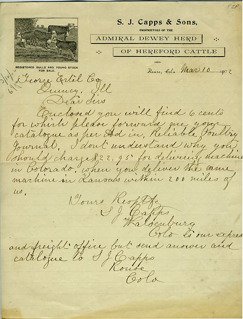COLORADO – ROUSE – CATTLE RANCH ILLUSTRATED LETTERHEAD – 1902.