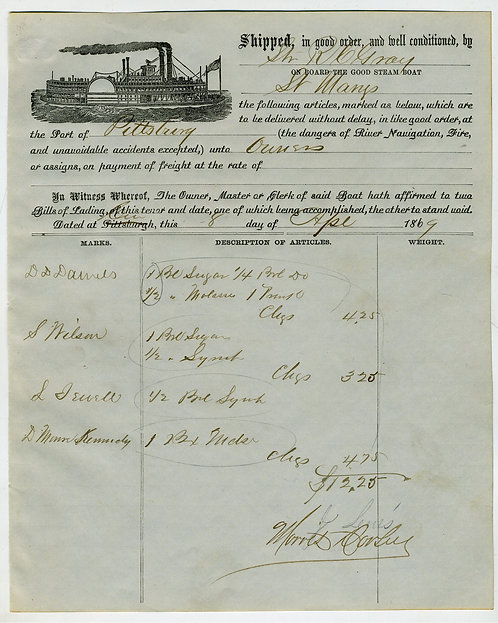 RIVER STEAMBOAT BILL OF LADING- PITTSBURG – ILLUSTRATED -  1869