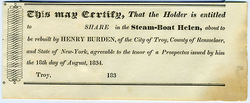 STEAMBOAT - UNISSUED CERTIFICATE FOR SHARE 1834.