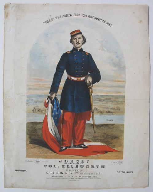 SHEET MUSIC – CIVIL WAR – COL. ELLSWORTH'S FUNERAL MARCH- 1861