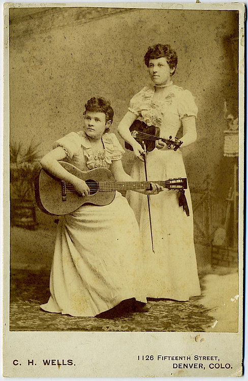 MUSICAL -YOUNG WOMEN WITH GUITAR AND VIOLIN - CABINET CARD