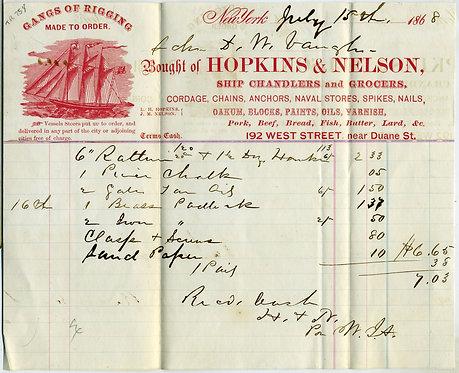 "SHIP'S CHANDLER ILLUSTRATED BILLHEAD. 1868 7""x8 1/2"",. 1868"