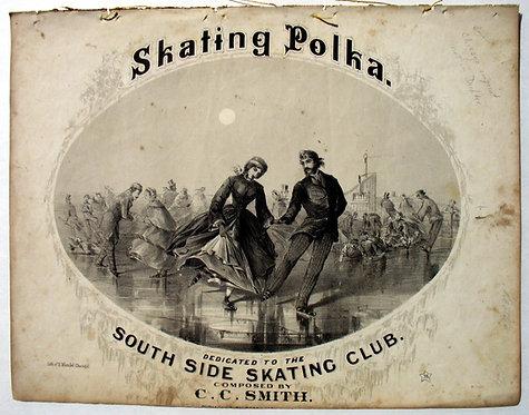 SHEET MUSIC- SKATING POLKA - LITHOGRAPH COVER CA. 1860s ,