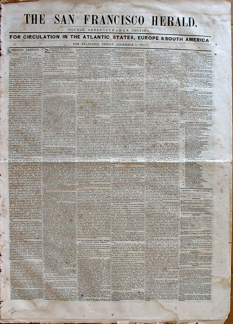 THE SAN FRANCISCO HERALD  1851 STEAMER EDITION.
