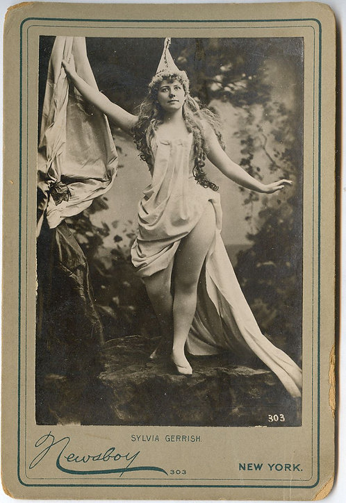 ACTRESS SYLVIA GERRISH– CABINET CARD - RISQUE - NEWSBOY PHOTO
