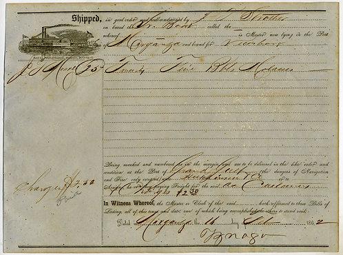 CIVIL WAR - CONFEDERATE STEAMBOAT BILL OF LADING - MORGANZA, LOUISIANA 1862
