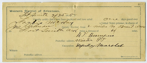 FORT SMITH U. S. MARSHAL VOUCHER WESTERN DISTRICT OF ARKANSAS -1895