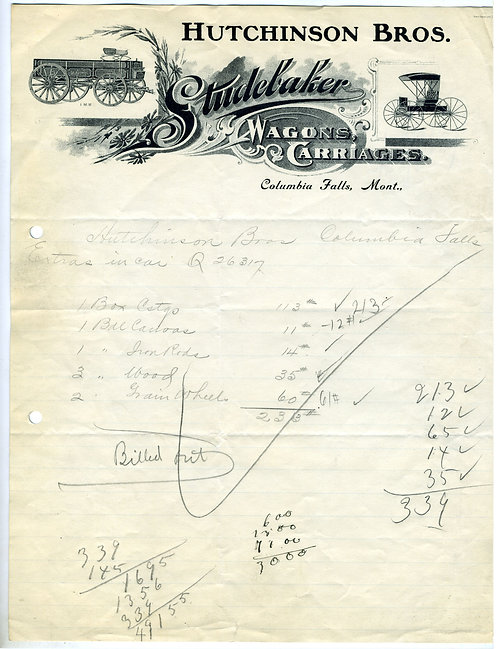 LETTERHEAD – HUTCHINSON BROS – STUDEBAKER WAGONS & CARRIAGES – ILLUSTRATED