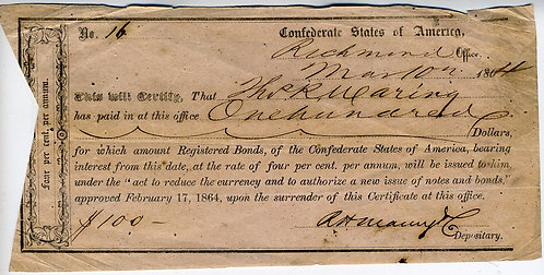 CONFEDCIVIL WAR - CONFEDERATE BONDHOLDER'S INTERIM DEPOSITORY CERTIFICATE 1864