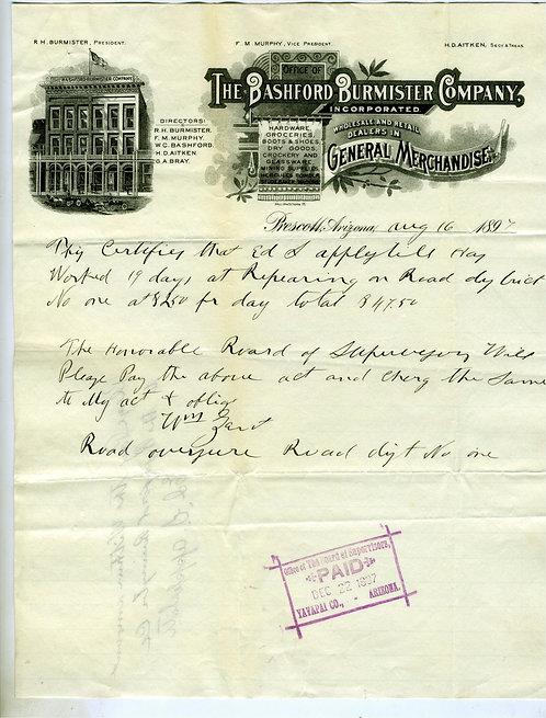 ARIZONA TERRITORY- PRESCOTT ILLUSTRATED LETTEHEAD – BASHFORD BURMISTER 1897.