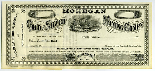 STOCK CERTIFICATE -  MOHEGAN GOLD AND SILVER MINING  CO. – GRASS VALLEY CA – 188