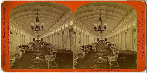 STEREOVIEW - MISSISSIPPI RIVERBOAT INTERIOR