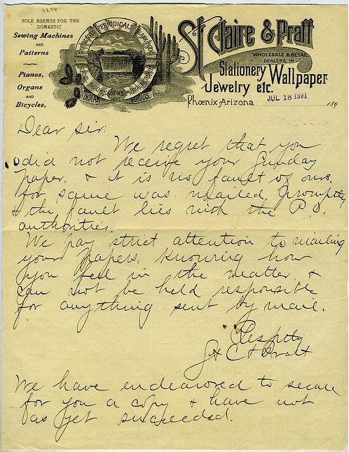 ARIZONA TERRITORY - PHOENIX MERCANTILE LETTERHEAD 1891