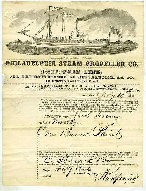 STEAMSHIP BILL OF LADING – GREAT LARGE GRAPHIC OF BROADSIDE OF VESSEL – 1856