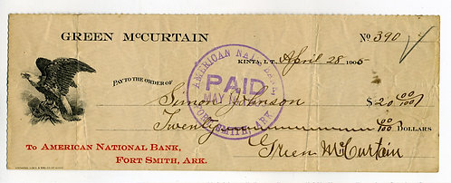 CHECK -GREEN McCURTAIN CHIEF CHOCTAW NATION 1899 CHECK- KINTA INDIAN TERRITORY