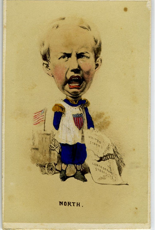 CIVIL WAR CDV- TINTED CARTOON – CHILD HOLDING MAP WITH DIVIDED UNION