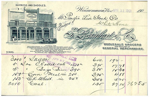 NEVADA – WINNAMUCCA – GROCERIES - LARGE ILLUSTRATION BILLHEAD 1901