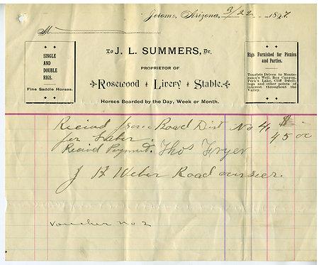 ARIZONA TERRITORY – JEROME BILLHEAD – ROSEWOOD LIVERY STABLES 1897