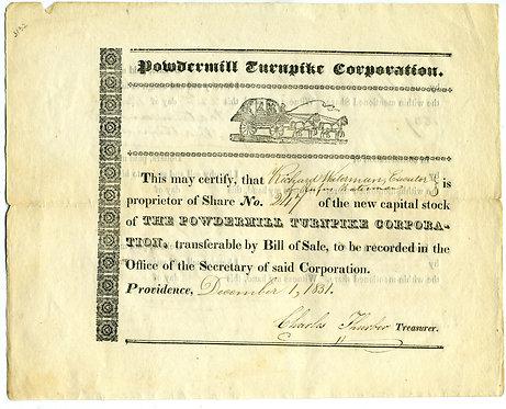 STOCK CERTIFICATE - POWDERMILL TURNPIKE CORPORATION - 1831