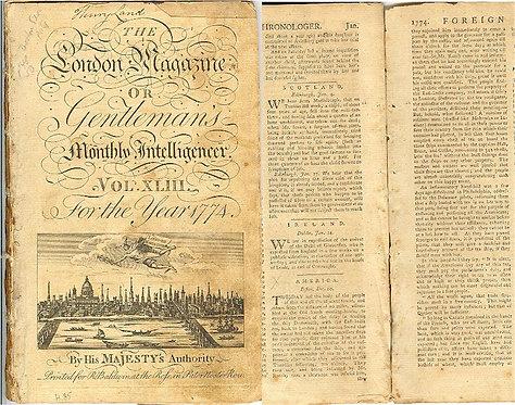 REVOLUTIONARY WAR - BOSTON TEA PARTY - LONDON MAGQAZINE
