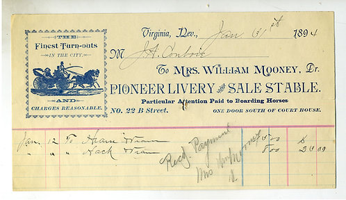 NEVADA – VIRGINIA CITY 1894 LIVERY AND STABLES ILLUSTRATED BILLHEAD