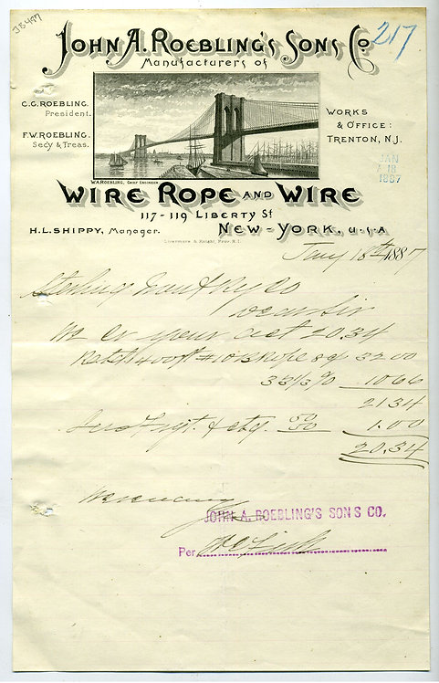 JOHN A. ROEBLING WIRE - BROOKLYN BRIDGE ILLUSTRATED  LETTERHEAD. 1887