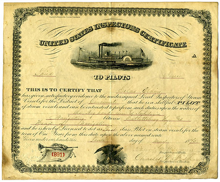 TRANSPORTATION – MARITIME - RIVERBOAT LICENSE TO PILOTS – 1875