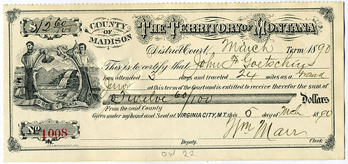 CHECK - MONTANA TERRITORY – EXPENSES FOR JURY DUTY - 1890- GOOD GRAPHICS