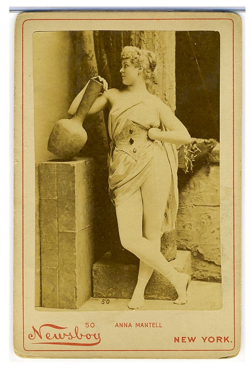 CABINET CARD – ACTRESS ANNIE MANTELL –RISQUE - NEWSBOY.