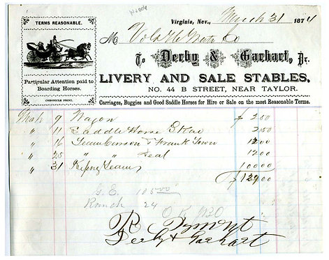 NEVADA – VIRGINIA CITY 1874 LIVERY AND STABLES  ILLUSTRATED BILLHEAD