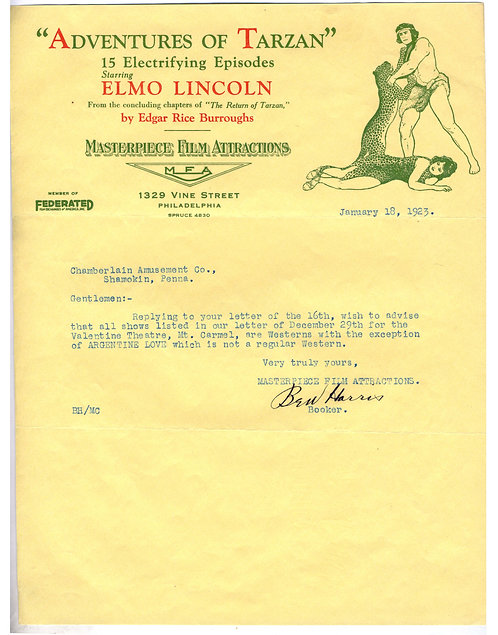 LETTERHEAD – ADVENTURES OF TARZAN – MASTERPIECE FILM -  1923 - ILLUSTRATED