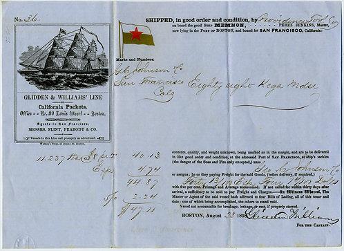 CALIFORNIA - PACKET BILL OF LADING - CLIPPER SHIP ILLUSTRATION - 1858