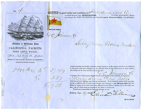 CALIFORNIA -  PACKET BILL OF LADING - CLIPPER SHIP ILLUSTRATION .