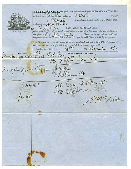 MARITIME BILL OF LADING – ILLUSTRATION OF MASTED SHIP -  CIVIL WAR RELATED
