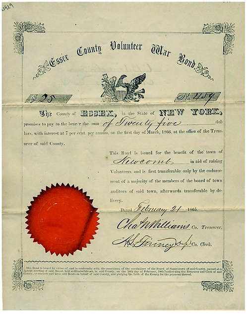 CIVIL WAR - ESSEX COUNTY VOLUNTEER WAR BOND