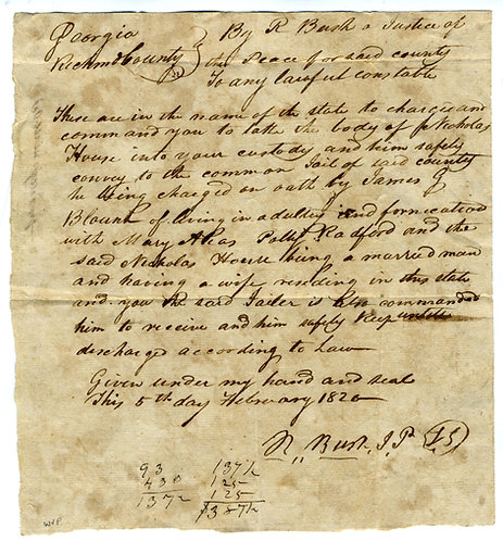 COURT ORDER FOR ARREST FOR ADULTERY AND FORNICATION- 1826