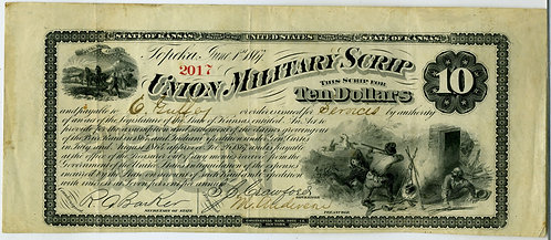 CIVIL WAR - UNION MILITARY SCRIP - TOPEKA KS 1867