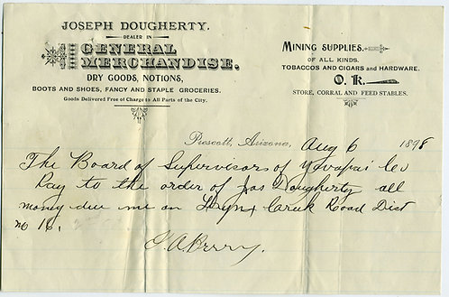 ARIZONA TERRITORY – PRESCOTT MERCHANDISE AND MINING SUPPLIES  BILLHEAD.1898.