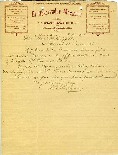 ARIZONA TERRITORY - PHOENIX - SPANISH NEWSPAPER LETTERHEAD - 1899